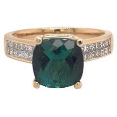 Green Tourmaline Diamond Ring 14k Yellow Gold 2.80 TCW Certified