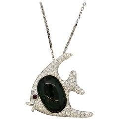 Green Tourmaline Diamond Ruby Gold Fish Pendant