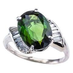 Green Tourmaline Diamond White Gold Cocktail Ring