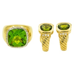 Green Tourmaline Diamond Yellow Gold Ring and Cable Earrings Set Suite
