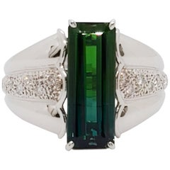 Green Tourmaline Emerald Cut and White Diamond Cocktail Ring in Platinum