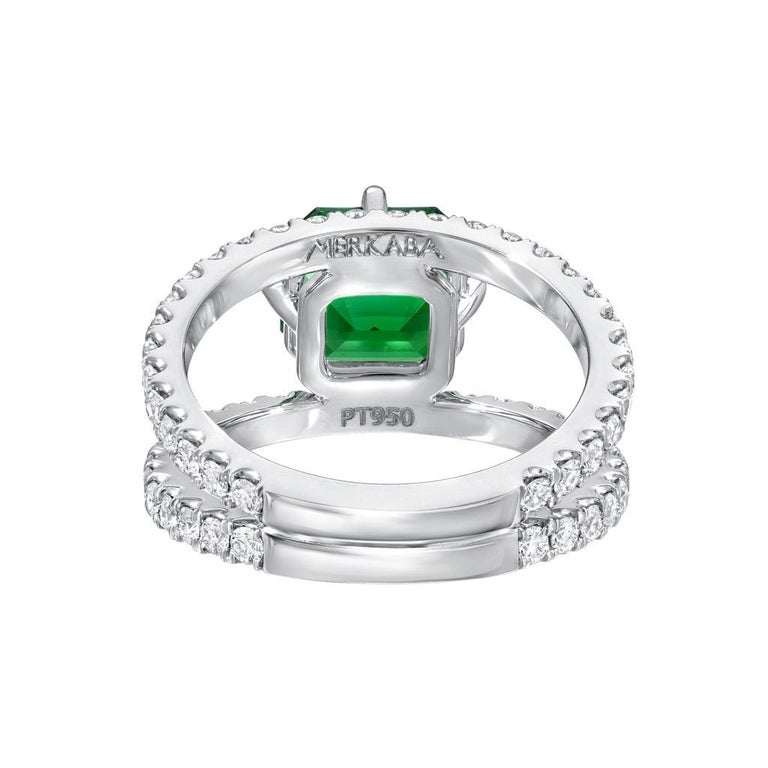 Green Tourmaline Ring Emerald Cut Diamond Modern Platinum Cocktail Ring In New Condition For Sale In Beverly Hills, CA