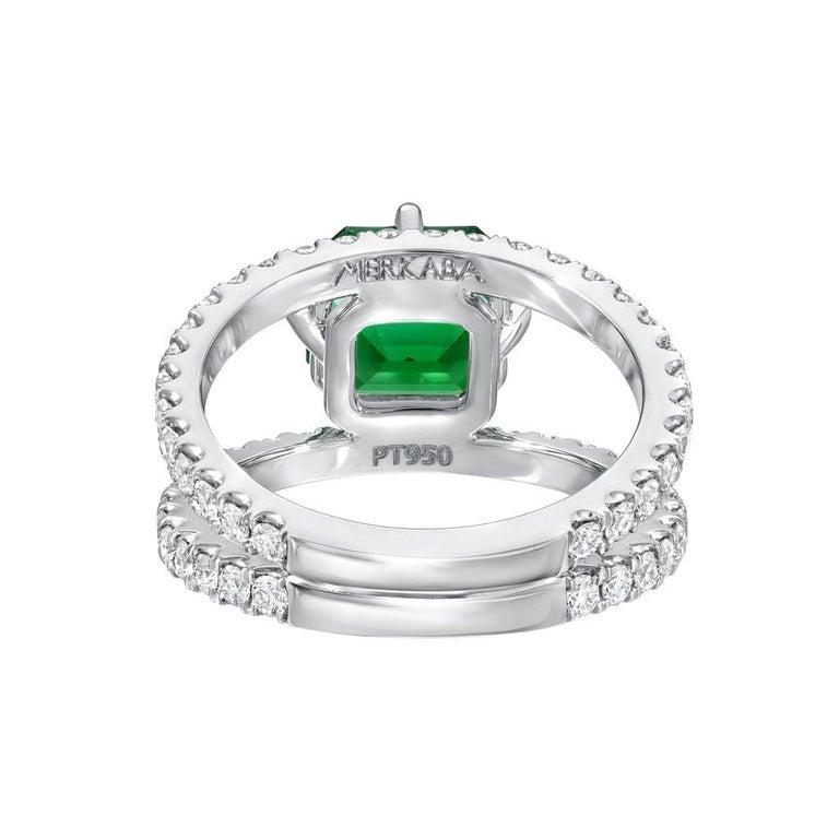 Modern Green Tourmaline Emerald Cut Diamond Platinum Cocktail Ring For Sale