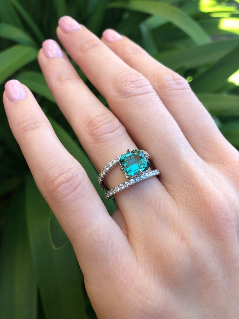 Women's Green Tourmaline Ring Emerald Cut Diamond Modern Platinum Cocktail Ring For Sale