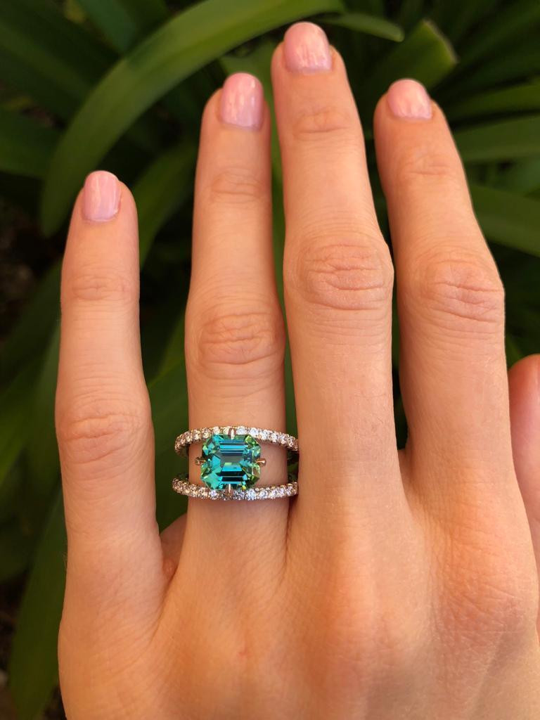 Green Tourmaline Ring Emerald Cut Diamond Modern Platinum Cocktail Ring For Sale 1