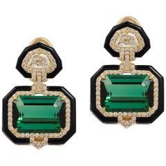Green Tourmaline Emerald Cut Earring with Diamonds
