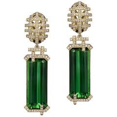Goshwara Emerald Cut Green Tourmaline and Diamond Earrings