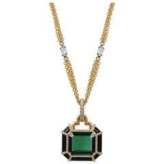 Green Tourmaline Emerald Cut Pendant with Diamonds
