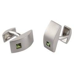 Green Tourmaline in White Gold Cufflinks