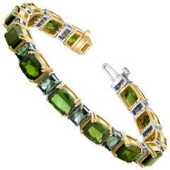Green Tourmaline, Indicolite Blue Tourmaline, Yellow, White Gold Tennis Bracelet