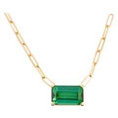 Green Tourmaline Necklace, Paperclip Chain, 3.3 Ct Emerald Cut Original Pendant