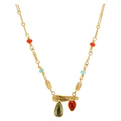 Green Tourmaline, Orange Fire Opal Cabochon, 22 Karat Yellow Gold Chain Necklace