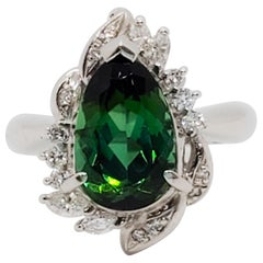 Green Tourmaline Pear and White Diamond Cocktail Ring in Platinum