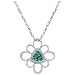 Green Tourmaline Pendant Necklace 4.37 Carat