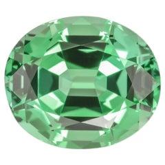Green Tourmaline Ring Gem 13.67 Carat Oval