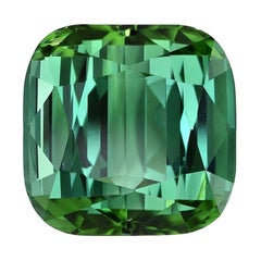 Green Tourmaline Ring Gem 6.51 Carat Unset Cushion Loose Gemstone