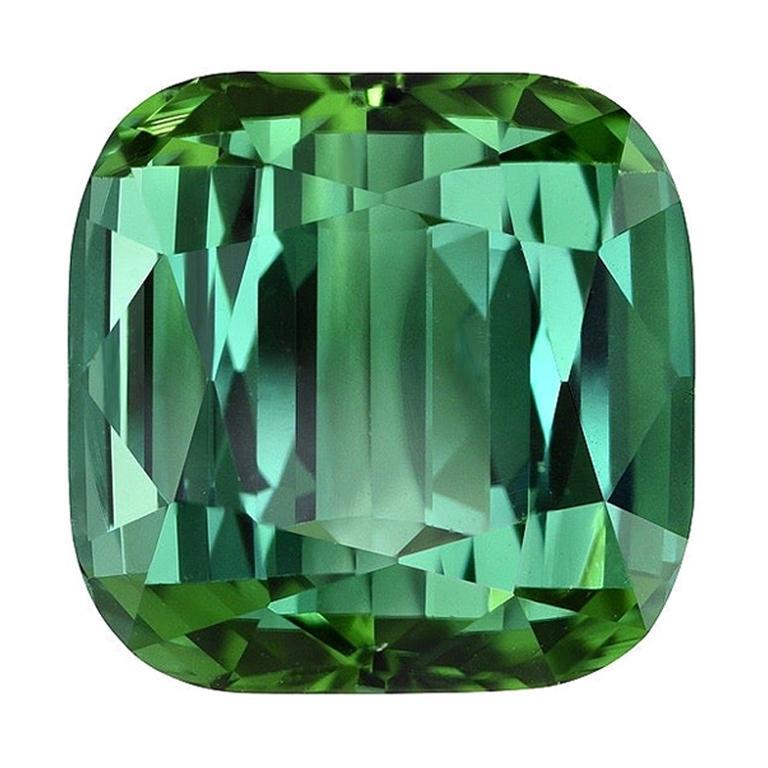 Green Tourmaline Ring Gem 6.51 Carat Unset Cushion Loose Gemstone For Sale