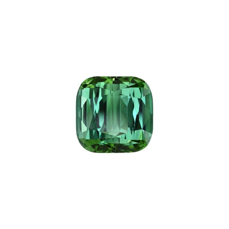 Modern Green Tourmaline Ring Gem 6.51 Carat Unset Cushion Loose Gemstone For Sale