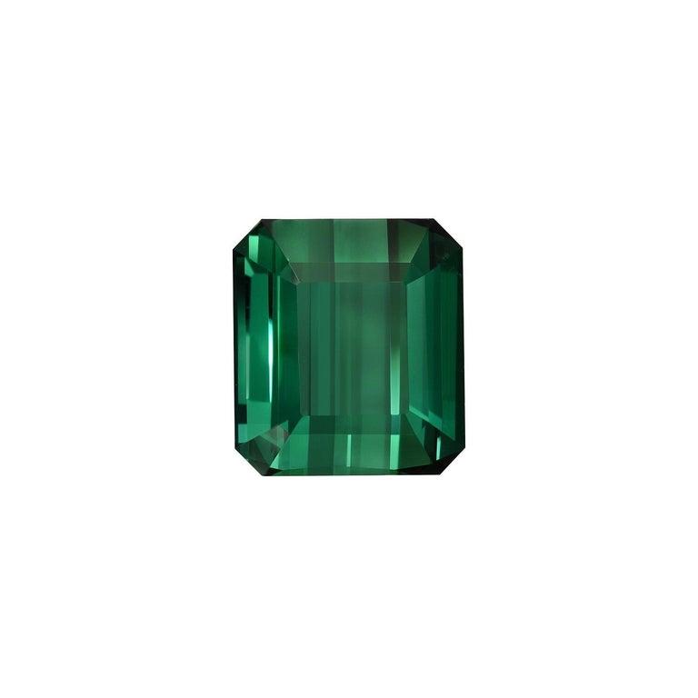 Modern Green Tourmaline Ring Gem 7.38 Carat Emerald Cut Loose Unset Gemstone For Sale