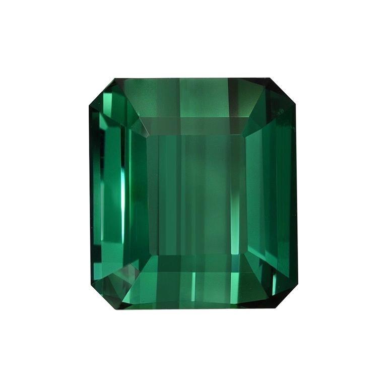 Green Tourmaline Ring Gem 7.38 Carat Emerald Cut Loose Unset Gemstone For Sale