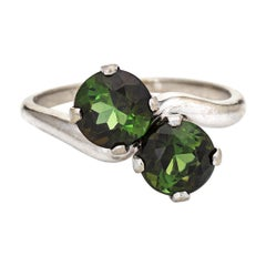 Green Tourmaline Ring Moi et Toi 14k White Gold Two-Stone Vintage Jewelry