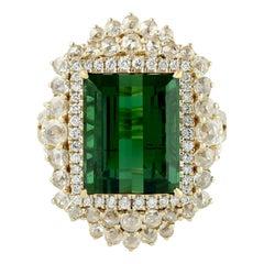 Green Tourmaline Ring with Rosecut Diamond in 18 Karat Yellow Gold