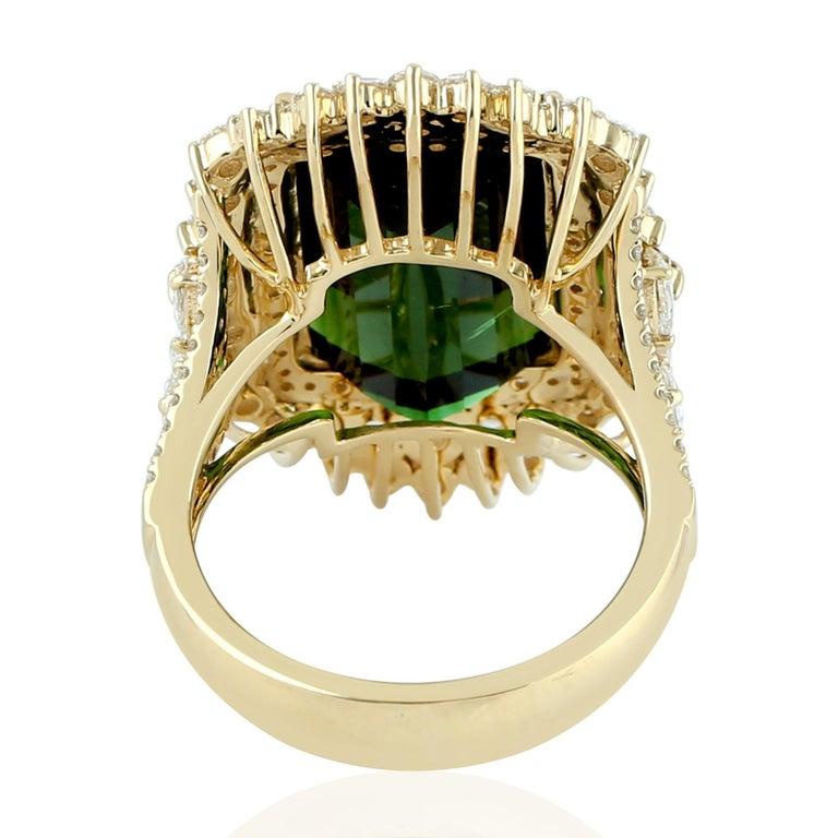 Artisan Green Tourmaline Ring with Rosecut Diamond in 18 Karat Yellow Gold For Sale