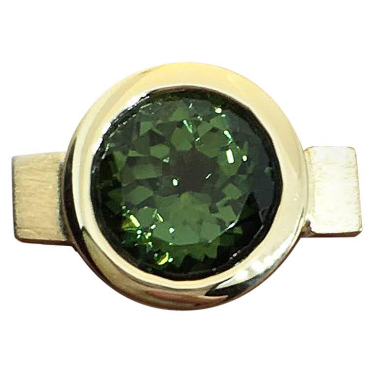 Green Tourmaline Round Bezel Ring