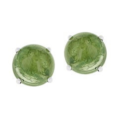 Green Tourmaline Round Cabochon Stud Earrings Made in 14 Karat White Gold