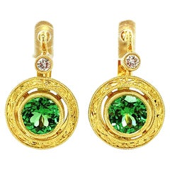 Green Tourmaline Round, Diamond, Gold Lever Back Hand Engraved Drop Earrings