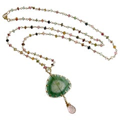 Green Tourmaline Slice with Hand Linked Tourmaline Chain, Laurel Necklace