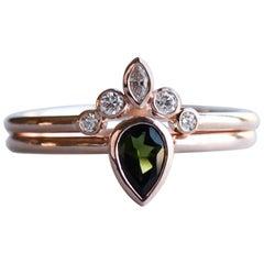 Green Tourmaline Teardrop Ring in 14 Karat Rose Gold with Diamond Ring Guard
