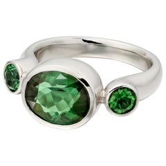 Green Tourmaline Three-Stone Ring in Platinum