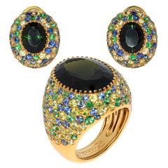 Green Tourmaline Tsavorites Sapphires Yellow 18 Karat Gold Riviera Suite