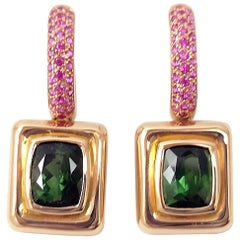 Green Tourmaline with Pink Sapphire Earrings Set in 18 Karat Rose Gold Settings