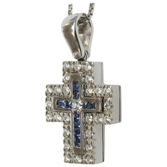 Green Tsavorite, Blue Sapphire, White Diamond Cross in 18 Karat White Gold