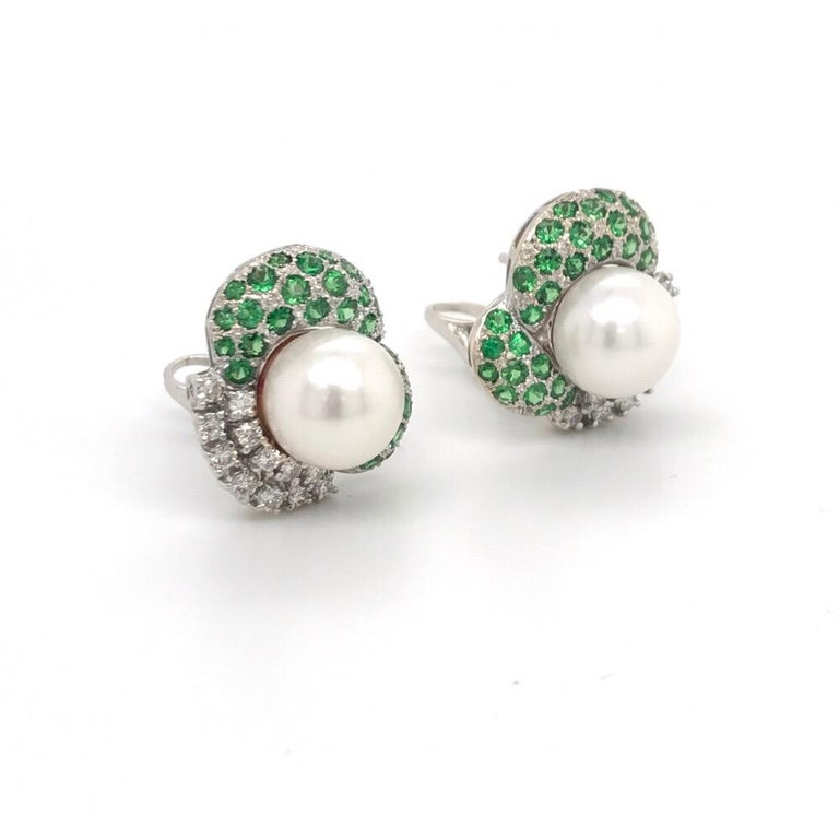 Contemporary Green Tsavorite Diamond Pearl Earrings 2.72 Carat 18K White Gold For Sale
