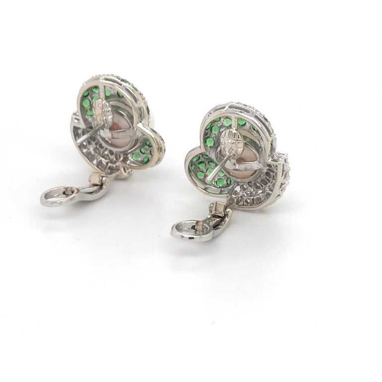 Green Tsavorite Diamond Pearl Earrings 2.72 Carat 18K White Gold In New Condition For Sale In New York, NY