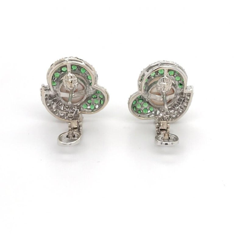 Women's Green Tsavorite Diamond Pearl Earrings 2.72 Carat 18K White Gold For Sale