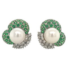 Green Tsavorite Diamond Pearl Earrings 2.72 Carat One Of a Kind