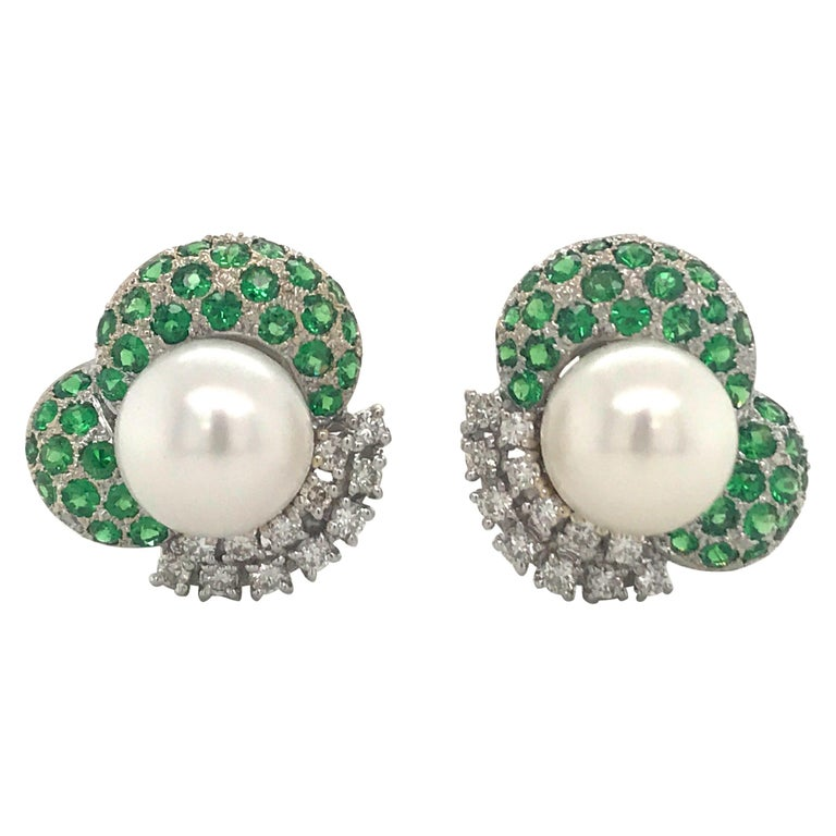 Green Tsavorite Diamond Pearl Earrings 2.72 Carat 18K White Gold For Sale