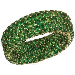 Green Tsavorite Garnet 6.40 Carat Inside or Outside 18 Karat Gold 3-Row Ring