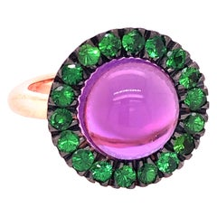Green Tsavorite Round Amethyst Cabochon Rose Gold Cocktail Ring