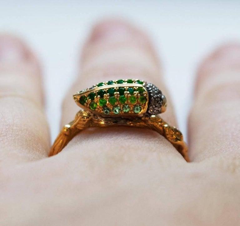 Women's Green Tsavorite Scarab 18 Karat Yellow Gold Stackable Ring For Sale