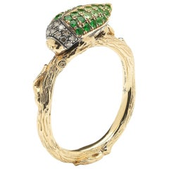 Green Tsavorite Scarab 18 Karat Yellow Gold Stackable Ring