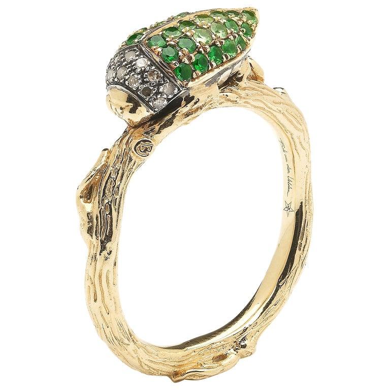 Green Tsavorite Scarab 18 Karat Yellow Gold Stackable Ring For Sale