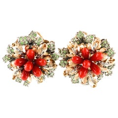 Green Tsavorites, Diamonds, Red Corals, Gold and Silver Flower Clip-On Earrings