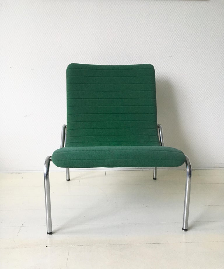 Mid-Century Modern Green Tubular Lounge Chair by Kho Liang Ie for Stabin Holland, Model 703, 1968 For Sale
