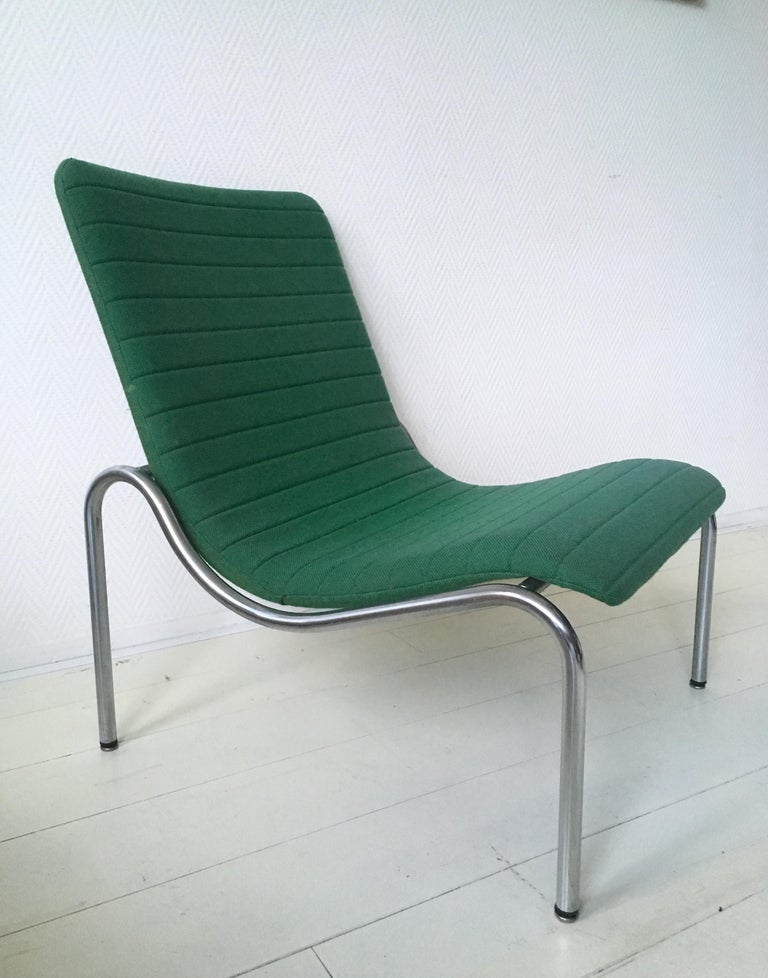 Dutch Green Tubular Lounge Chair by Kho Liang Ie for Stabin Holland, Model 703, 1968 For Sale