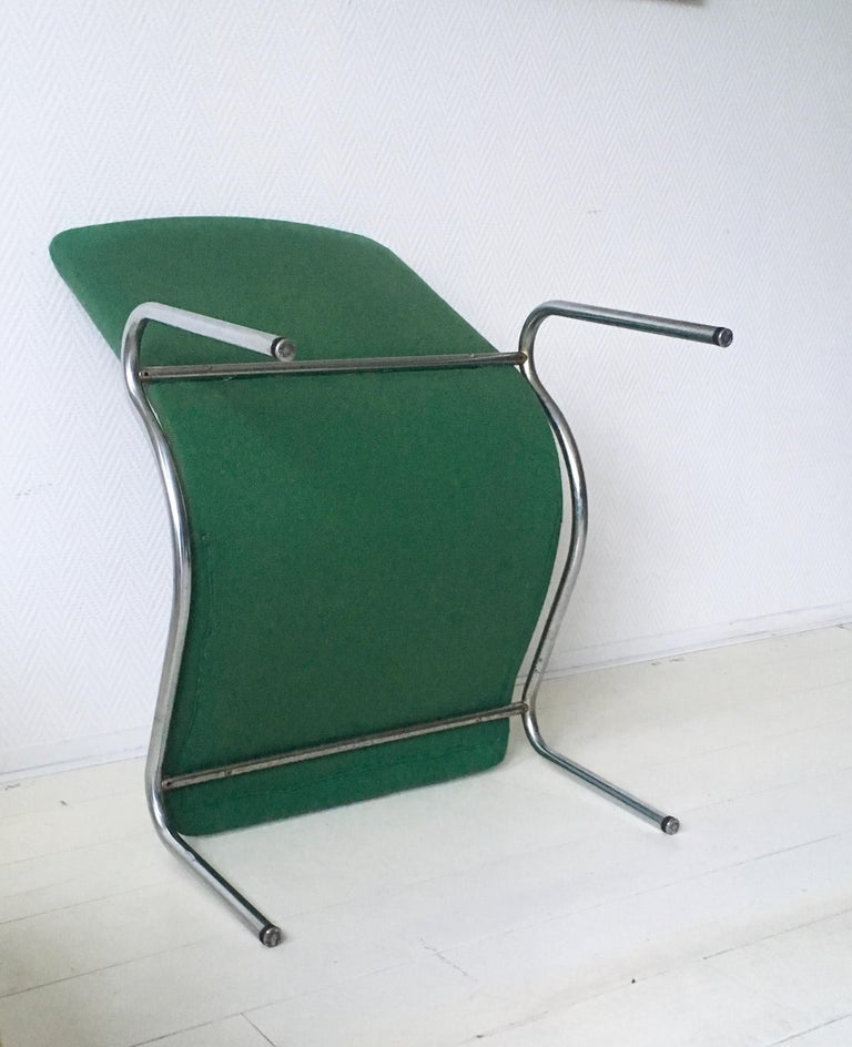 Metal Green Tubular Lounge Chair by Kho Liang Ie for Stabin Holland, Model 703, 1968 For Sale